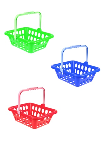 shopping buggy: A shopping basket isolated against a white background