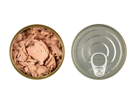 tinned: Canned tuna isolated against a white background