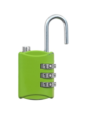 A luggage lock isolated against a white background photo