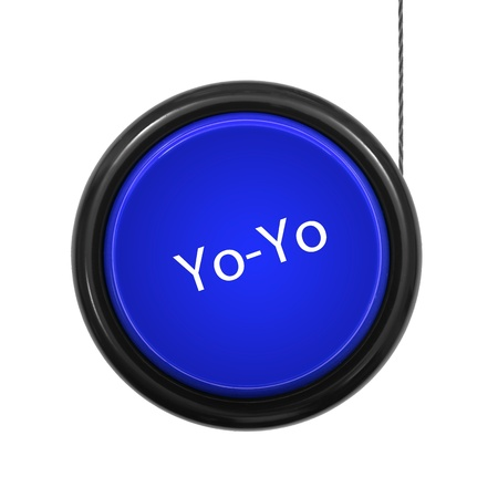 yo: A toy yoyo isolated against a white background