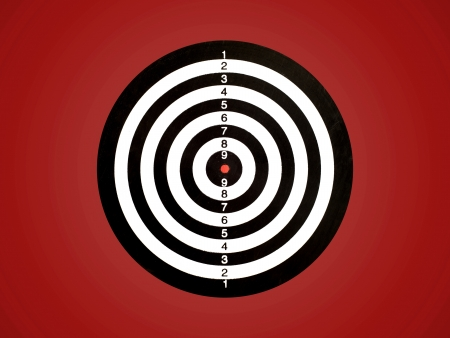 archery target: A target isolated against a red background