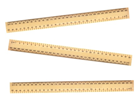 A metal ruler isolated against a white background photo