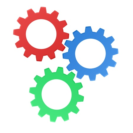 Rendered gears isolated against a white background Stock Photo