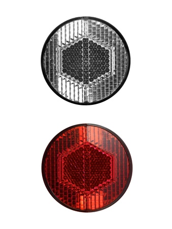 reflectors: Bicycle reflectors isolated against a white background Stock Photo