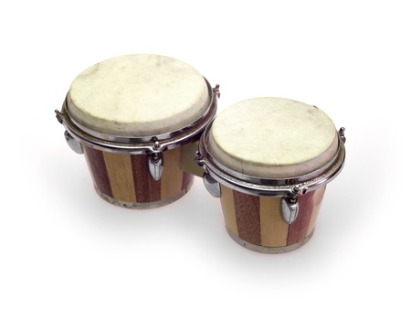 Bongo drums isolated against a white background