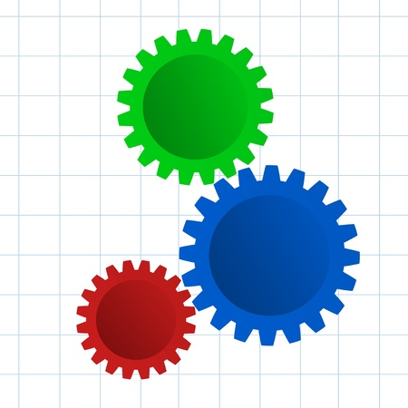 An illustration of gears on  engineering graph paper Stock Illustration - 15569177