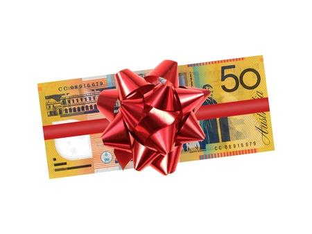 Australian 50 Dollar-Note vor einem weißen Hintergrund isoliert Lizenzfreie Bilder