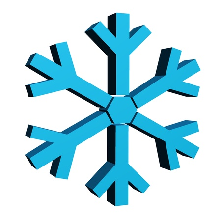 A3d snow flakes isolated against a white background photo
