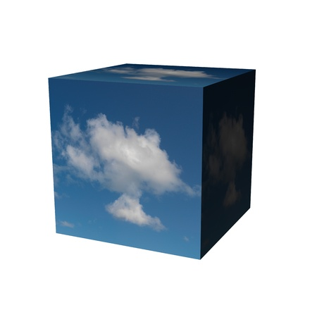 A conceptual 3d box of a blue sky photo