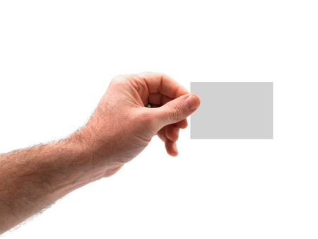 A hand holding a memo isolated against a white background Stock Photo - 15806744