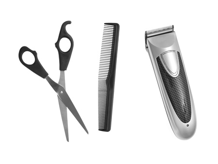 clippers comb: Mens grooming items isolated against a white background