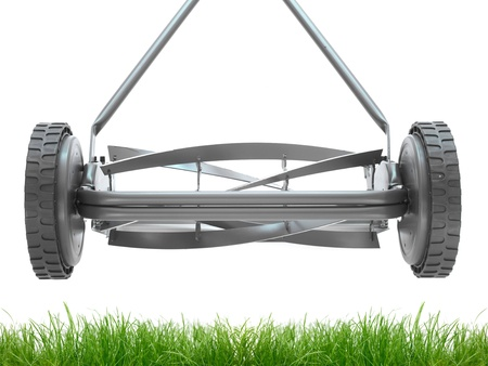 lawn care: A push mower isolated against a white background Stock Photo