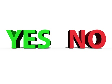 Yes and no signs isolated against a white background Stock Photo - 16231115
