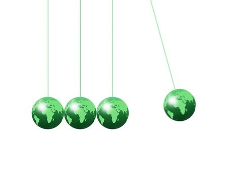 Newtons cradle using world globes on a plain background Stock Photo - 16541512