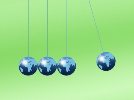 isaac newton: Newtons cradle using world globes on a plain background