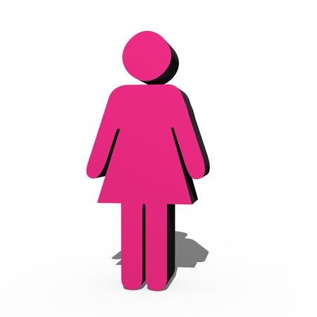 3D male and female symbols over white photo