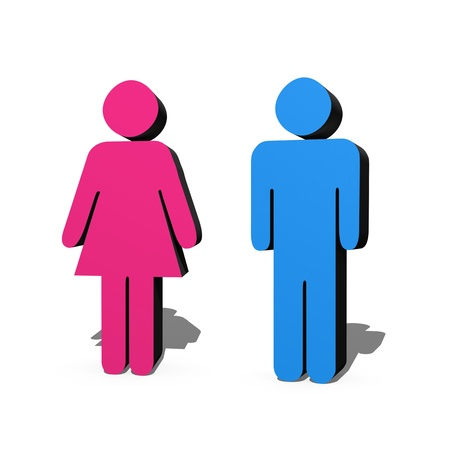 genders: 3D male and female symbols over white Stock Photo