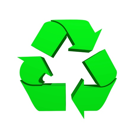 A 3d recycle symbol isolated against a white background photo