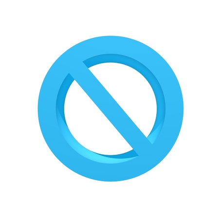 abstain: A 3d no entry symbol isolated on a white background