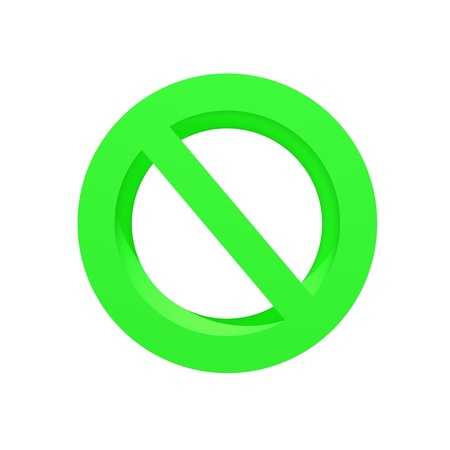 A 3d no entry symbol isolated on a white background