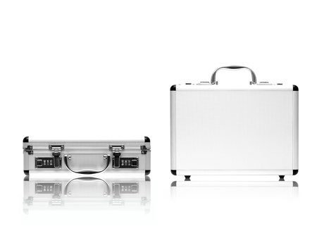 A metal briefcase isolated against a white background Stock Photo - 17198220