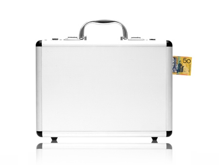 A metal briefcase isolated against a white background Stock Photo - 17198248