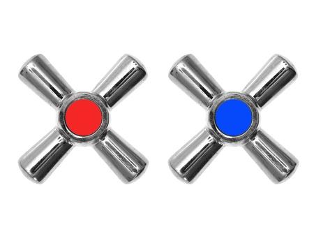 llave de agua: Grifos calientes y fr�os aislados en blanco