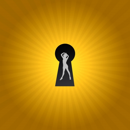 A keyhole isolated against a black background Stock Photo - 17456051
