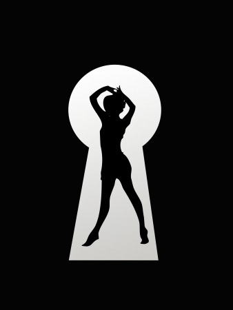 A keyhole isolated against a black background Stock Photo - 17456034