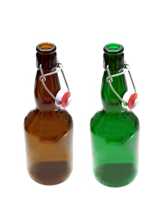 Beer bottles isolated against a white background photo