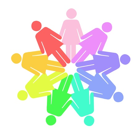 A conceptual illustration using people figures in a circle illustration