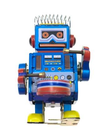 Ein Roboter vor einem weißen Hintergrund isoliert Standard-Bild