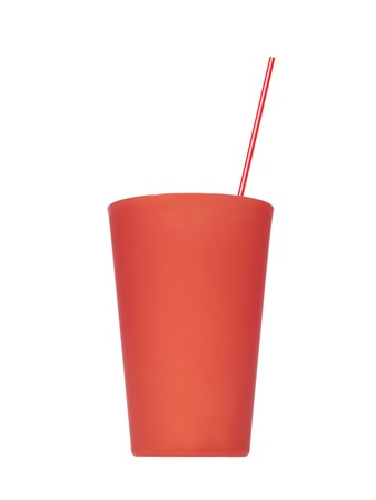 Plastic drinking cups isolated against a white background photo
