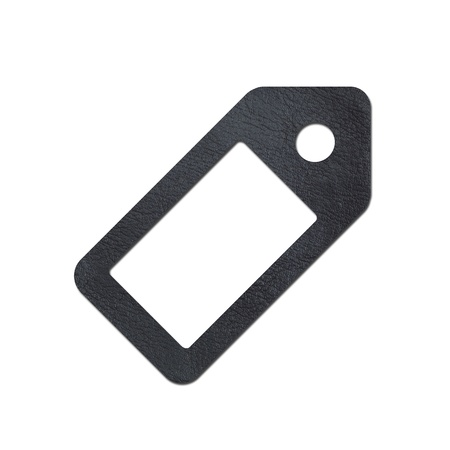 A leather tag isolated against a white background photo