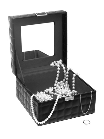 A jewellery box isolated against a white background photo