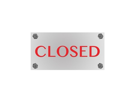 A closed sign isolated against a white background photo