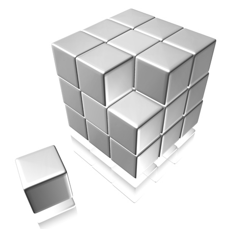 An abstract illustration of cubes on a white background illustration