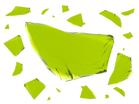 Broken glass isolated against a white background