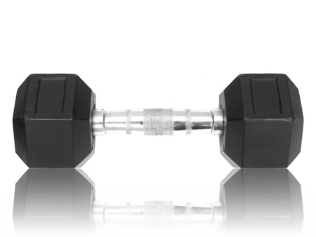 Gym weights isolated against a white background