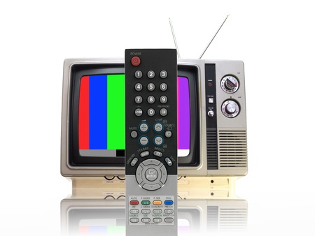 A television isolated against a white background photo
