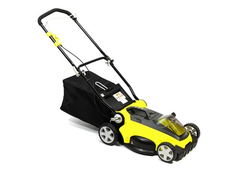 lawn mower: A rechargable lawn mower on a white background