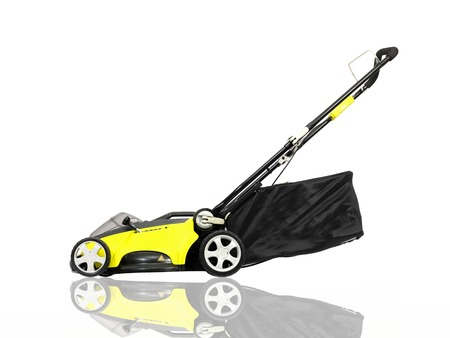mowing lawn: A rechargable lawn mower on a white background