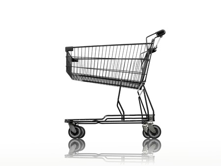 shopping buggy: A shopping trolley isolated against a white background