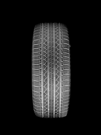 A black rubber tyre isolated against a white background Stock Photo - 22391392