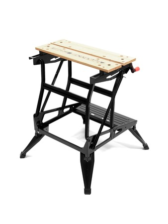 mesure: A work bench isolated against a white background Stock Photo