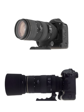 telephoto: Photographic equipment isolated against a white background