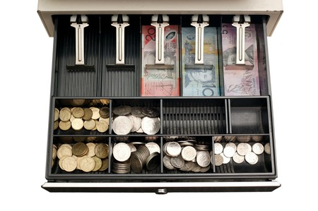 A close up shot of a cash drawer Stok Fotoğraf