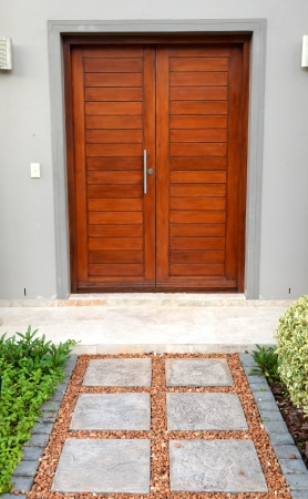 A conceptual shot of a front household wooden door photo