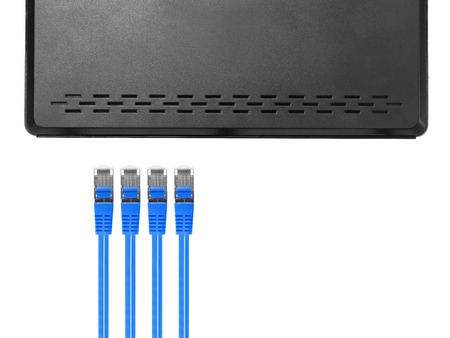 patch panel: Ethernet cables isolated against a plain background