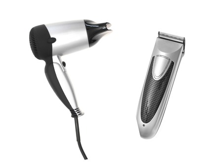 A hair dryer isolated against a plain background photo
